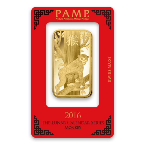 100g PAMP Gold Bar - Lunar Monkey