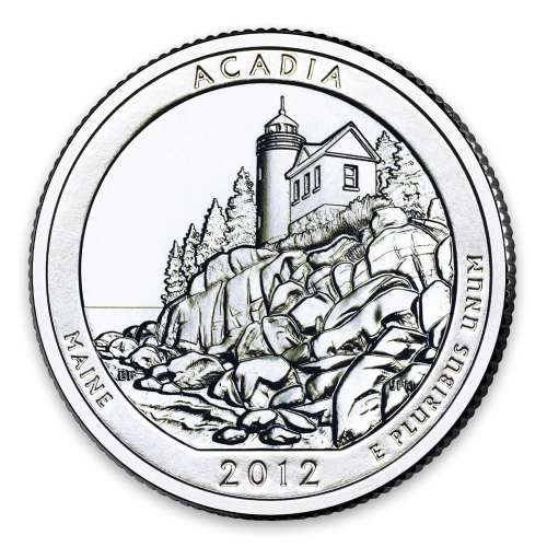 2012 America the Beautiful 5oz Silver - Acadia National Park, ME with OGP