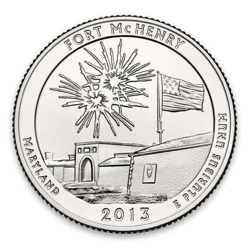 2013 America the Beautiful 5oz Silver - Fort McHenry National Monument, MD with OGP