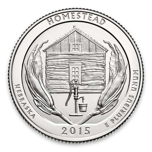 2015 America the Beautiful 5oz Silver - Homestead National Monument of America, NE with OGP