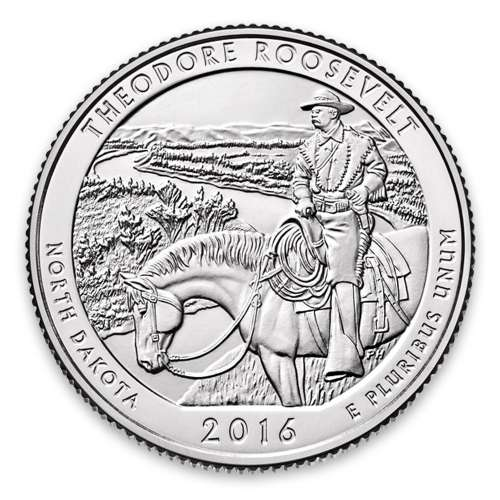 2016 America the Beautiful 5oz Silver - Theodore Roosevelt National Park, ND with OGP