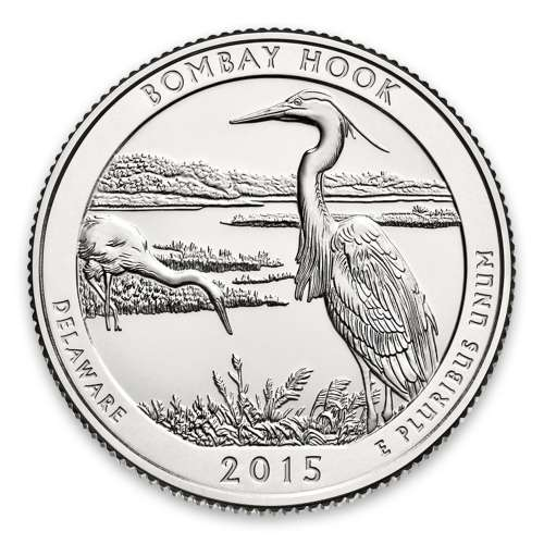 2015 America the Beautiful 5oz Silver - Bombay Hook National Wildlife Refuge, DE with OGP