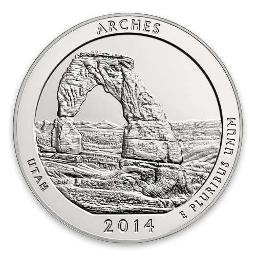 2014 America the Beautiful 5oz Silver - Arches National Park, UT PCGS MS-70