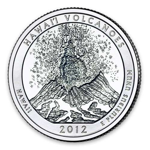 2012 America the Beautiful 5oz Silver - Hawaii Volcanoes National Park, HI with OGP