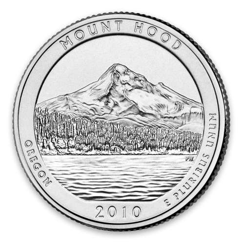 2010 America the Beautiful 5oz Silver - Mount Hood National Forest, OR with OGP