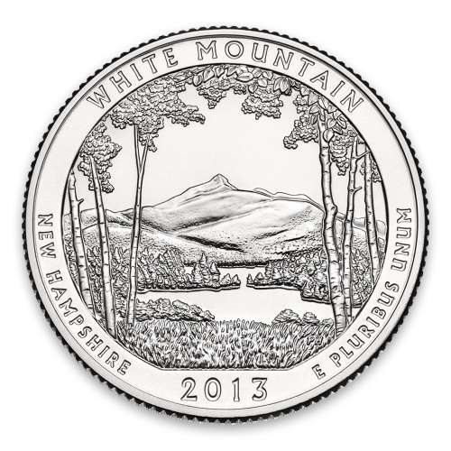 2013 America the Beautiful 5oz Silver - White Mountain National Forest, NH with OGP