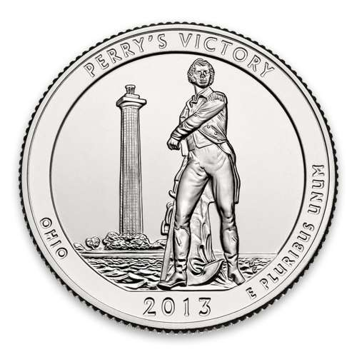 2013 America the Beautiful 5oz Silver - Perry's Victory and International Peace Memorial, OH with OGP