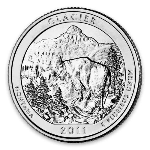 2011 America the Beautiful 5oz Silver - Glacier National Park, MT with OGP