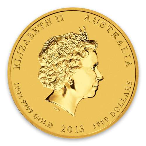 2013 10oz Australian Perth Mint Gold Lunar II: Year of the Snake