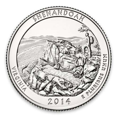 2014 America the Beautiful 5oz Silver - Shenandoah National Park, VA with OGP