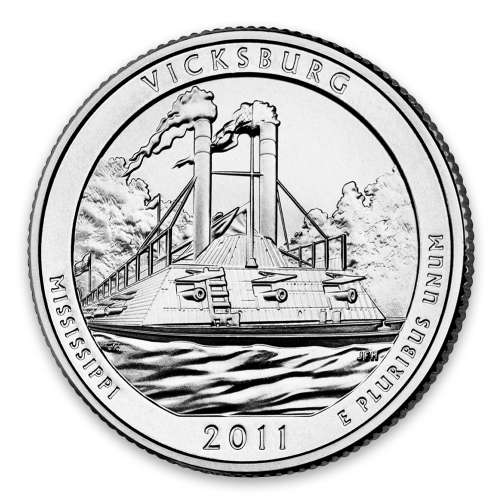 2011 America the Beautiful 5oz Silver - Vicksburg National Military Park, MS with OGP
