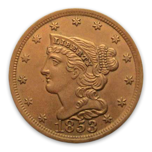 Half Cent Braided Cent (1840 - 1857) - Circulated