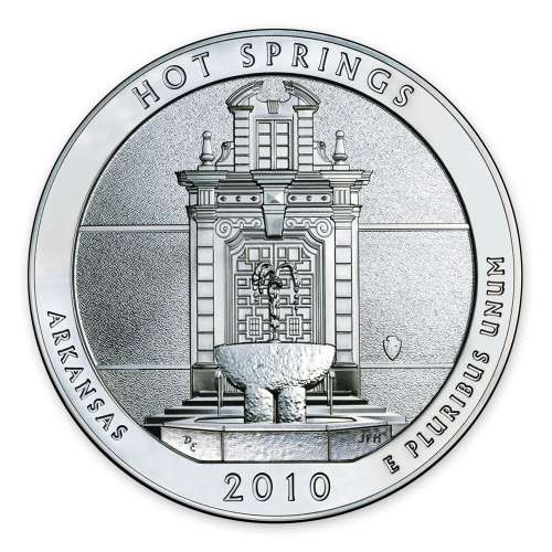 2010 America the Beautiful 5oz Silver - Hot Springs National Park, AR missing some/all OGP