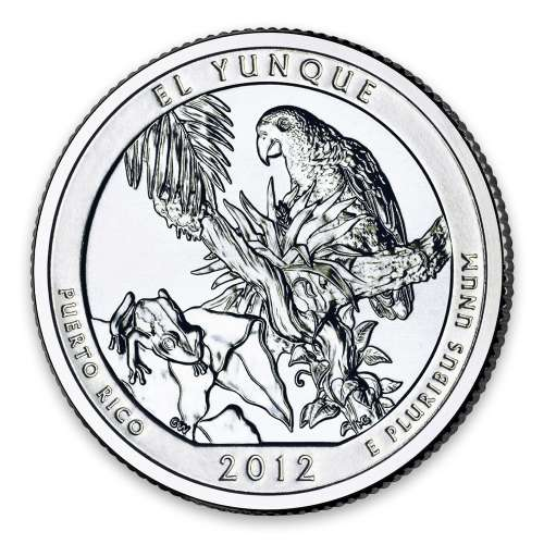 2012 America the Beautiful 5oz Silver - El Yunque National Forest, Puerto Rico with OGP