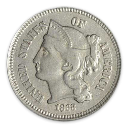 Three Cents (1851 - 1873) Nickel - Circulated