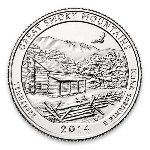 2014 America the Beautiful 5oz Silver - Great Smoky Mountains National Park, TN with OGP