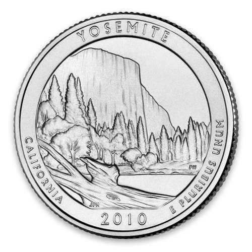 2010 America the Beautiful 5oz Silver - Yosemite National Park, CA with OGP