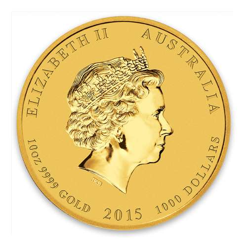 2015 10oz Australian Perth Mint Gold Lunar II: Year of the Goat