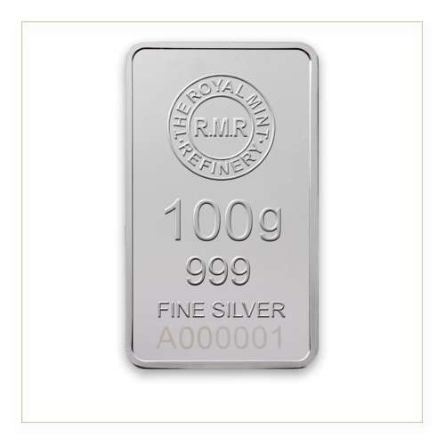 100g The Royal Mint Silver Minted Bar