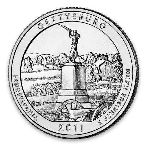 2011 America the Beautiful 5oz Silver - Gettysburg National Military Park, PA PCGS MS-70