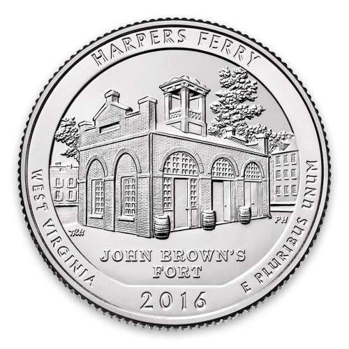 2016 America the Beautiful 5oz Silver - Harpers Ferry National Historical Park, WV with OGP