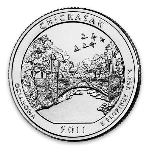 2011 America the Beautiful 5oz Silver - Chickasaw National Recreation Area, OK NGC MS-70