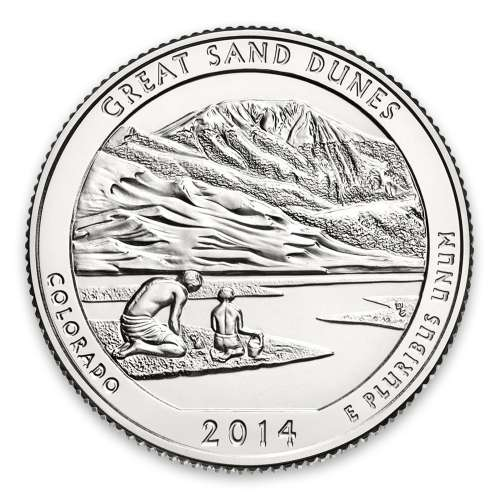 2014 America the Beautiful 5oz Silver - Great Sand DunesNational Park and Preserve, CO NGC MS-70